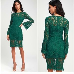 NWOT Enrapturing Elegance Green Eyelash Lace Dress